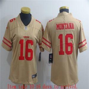 Women 49ers #16 Joe Montana Jersey Inverted